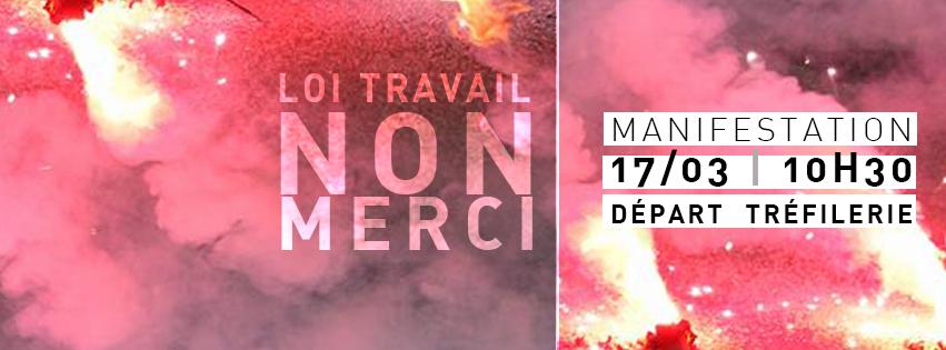Manifestation Jeudi 17 mars pour le retrait de la loi travail
