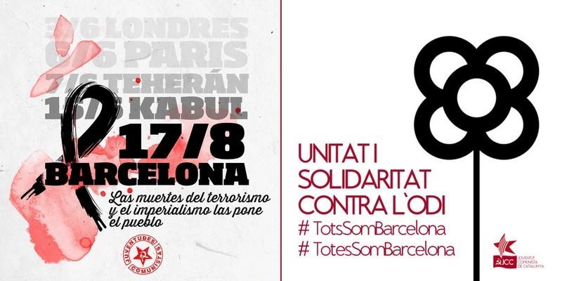 Communiqués de l'Union des Jeunesses Communistes d'Espagne (UJCE) et de la Jeunesse Communiste de Catalogne (JCC) sur l'attentat terroriste de Barcelone